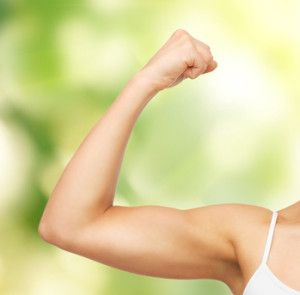 woman gaining muscle