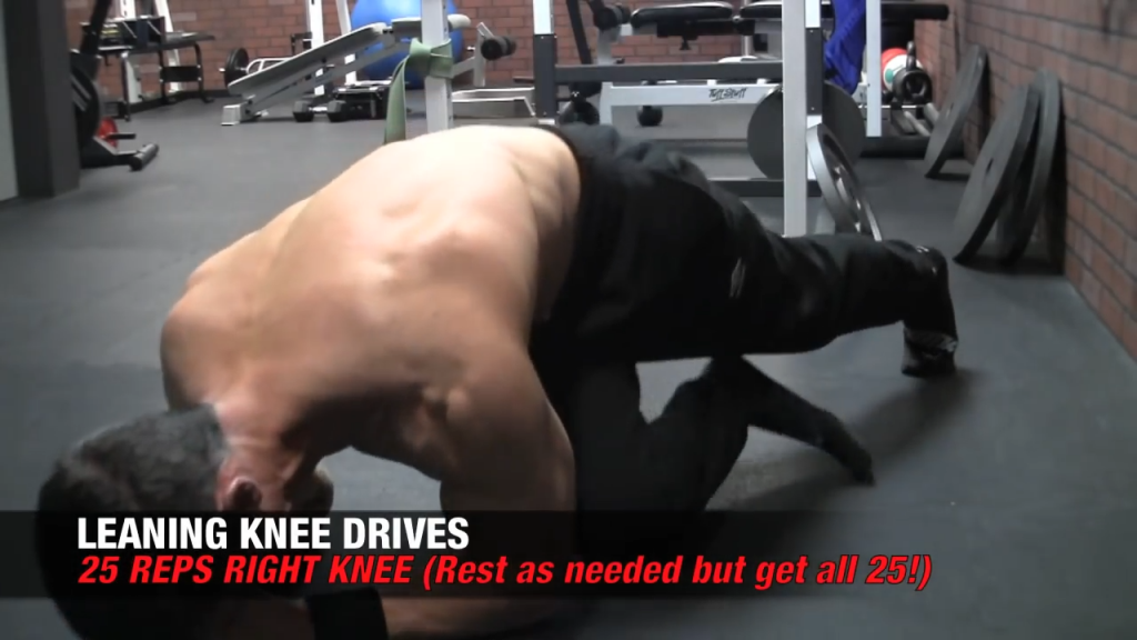 leaning knee drives toward the right