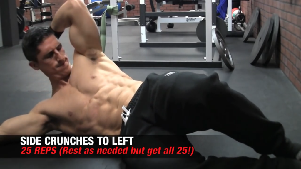 side crunches to left ab exercise