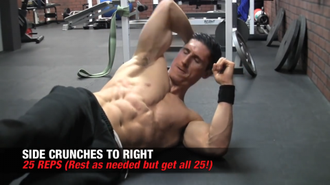 side crunches to right ab exercise