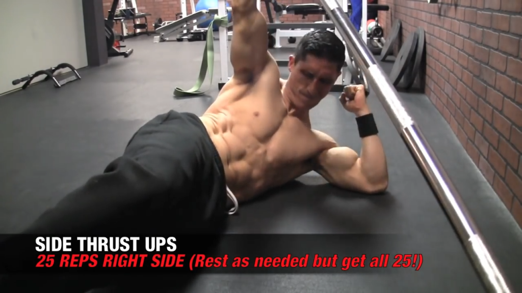 right side thrust ups ab exercises