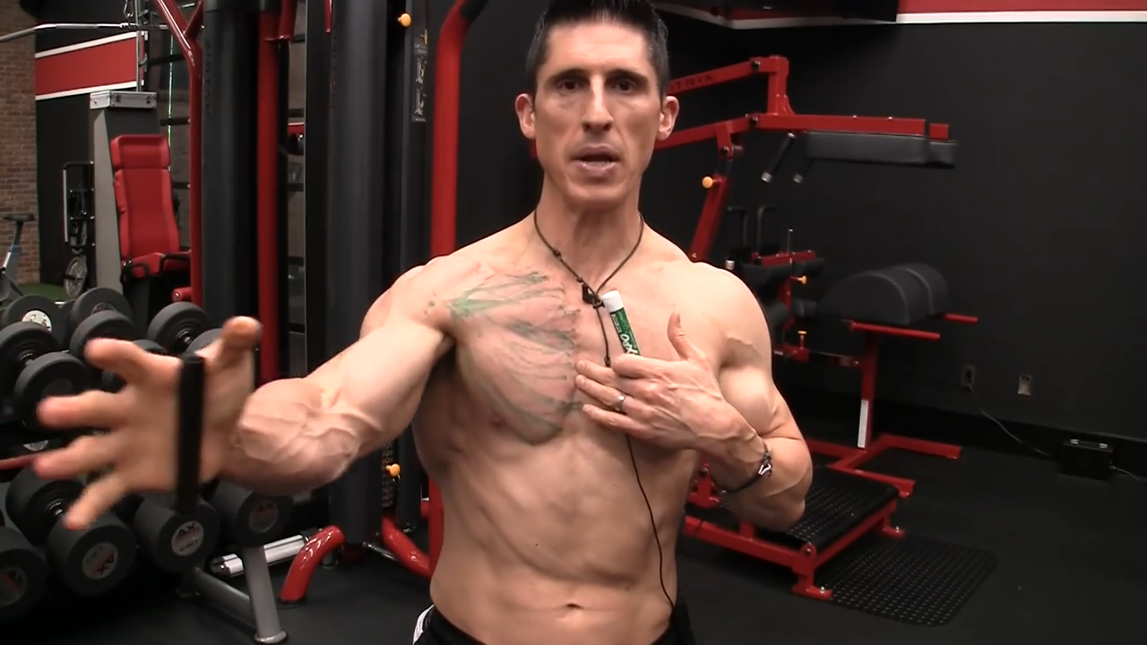 the action of the pec takes the arm across midline