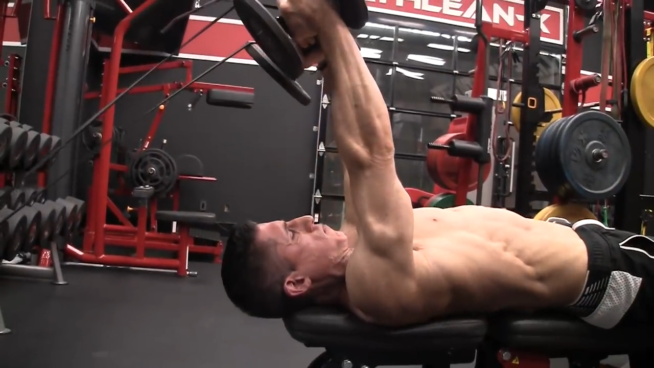banded lying triceps extension for peak tension
