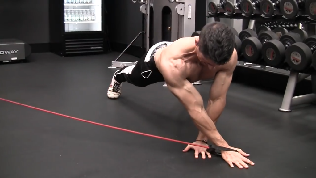 banded pushup chest exercise