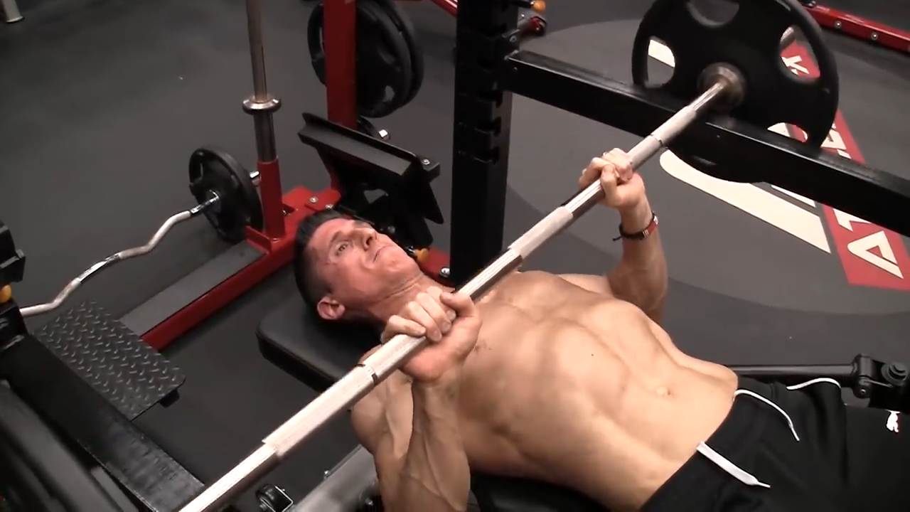 close grip pin press for progressive overload of the triceps