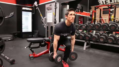 dumbbell bulgarian split squat in high low fashion