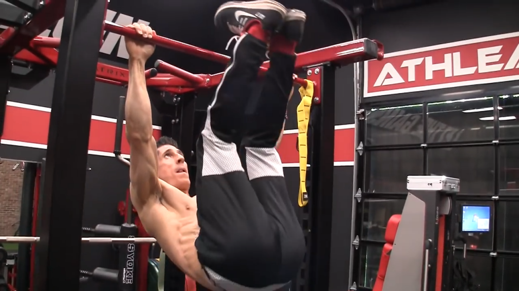 hanging x raise abs exercise