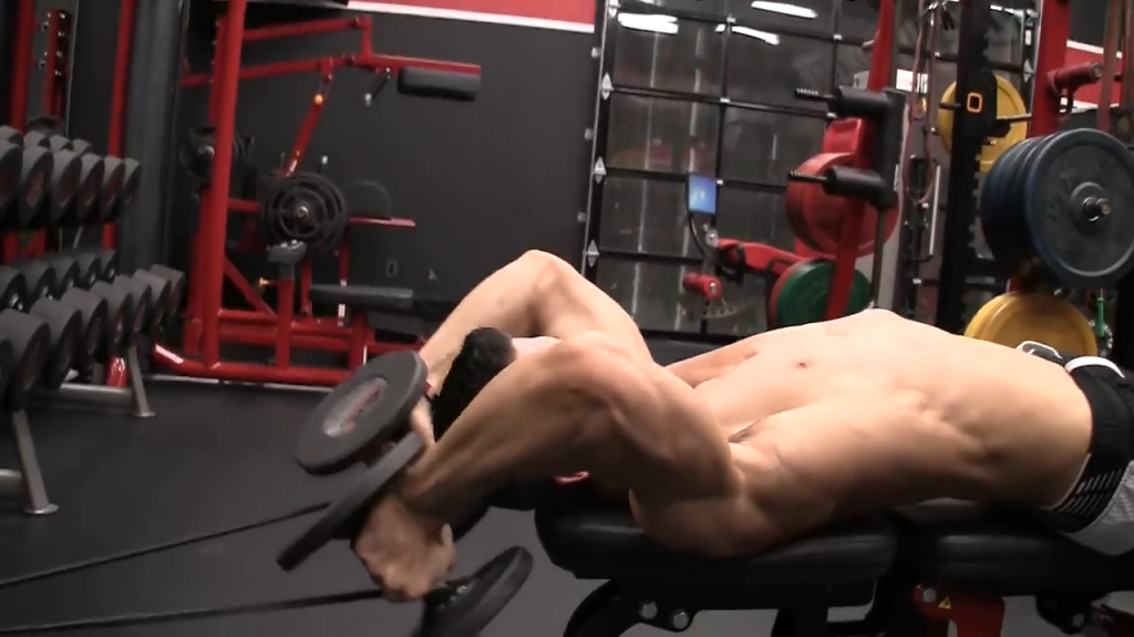 keep arms angled back in banded lying triceps extension