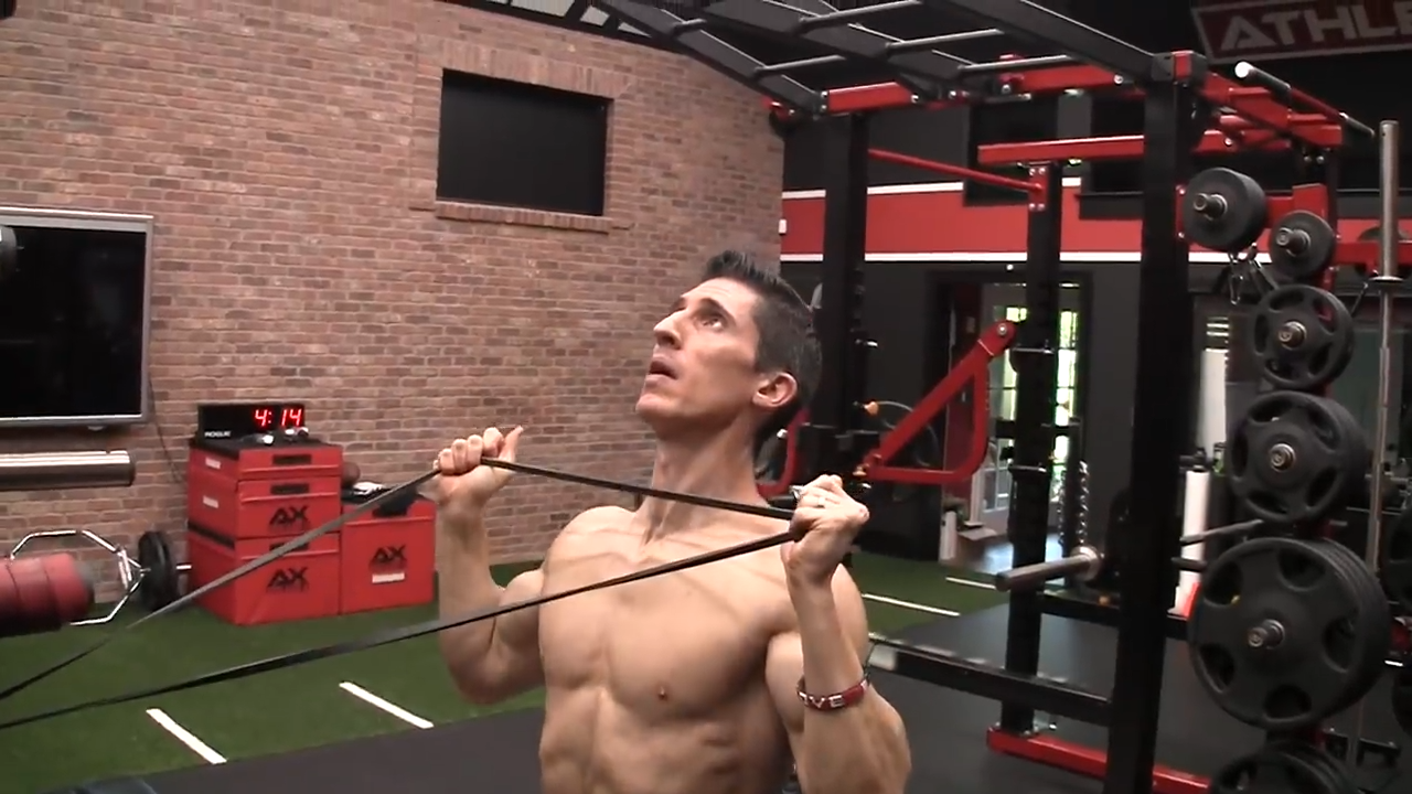 overhead band press shoulder exercise