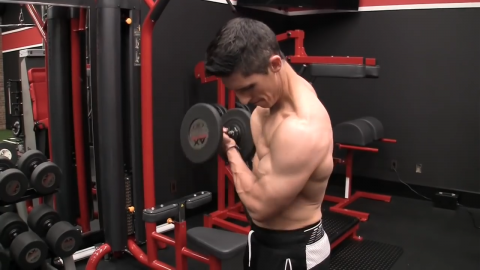 supinated crossbody curl biceps exercise
