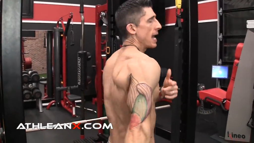 triceps engaged into full contraction