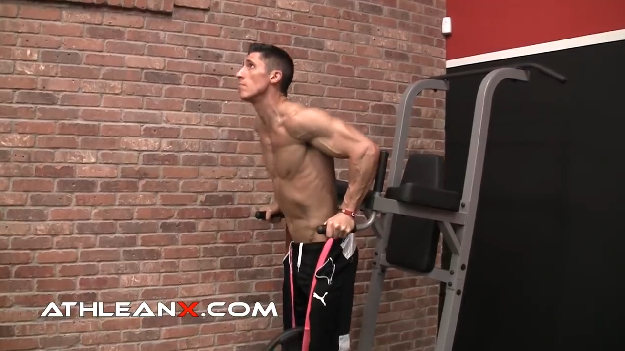 weighted dip for overload and intensity of triceps