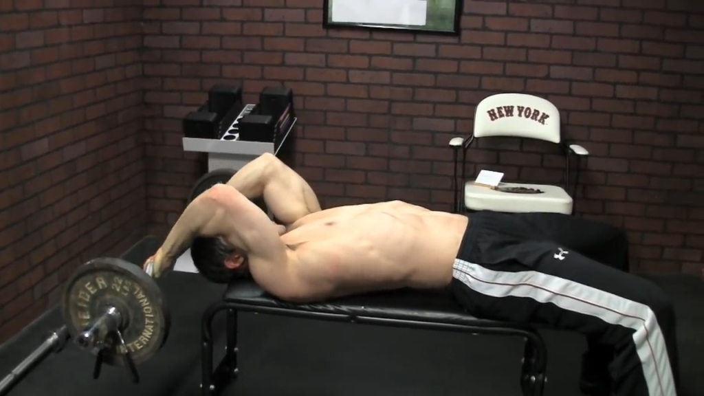 lying triceps extension is a great exercise for widening and thickening the triceps