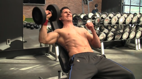 one arm dumbbell incline bench press exercise