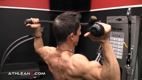 the correct grip for the facepull is underhand with thumbs facing backward