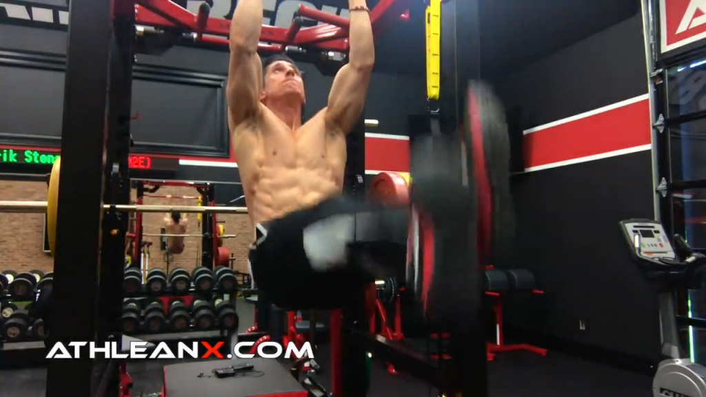 cross your legs and squeeze the adductors in the hanging leg raise