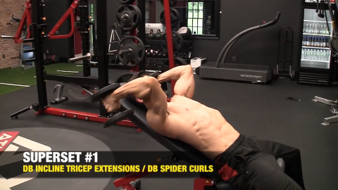 dumbbell incline triceps extensions