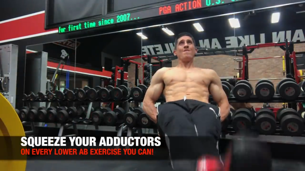 engage the adductors in lower ab exercises to stabilize the pelvis