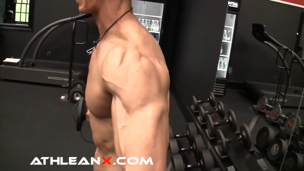 keep arms straight by initiating contraction from the deltoids in the side lateral raise