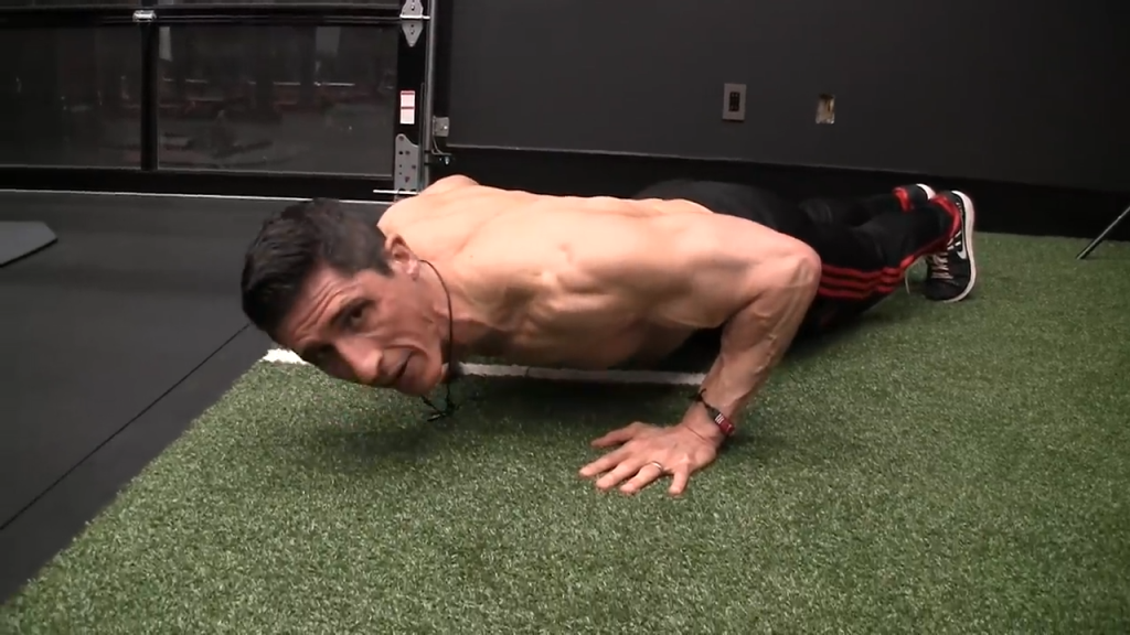 here I am shortening the range of motion of the pushup by not going low enough