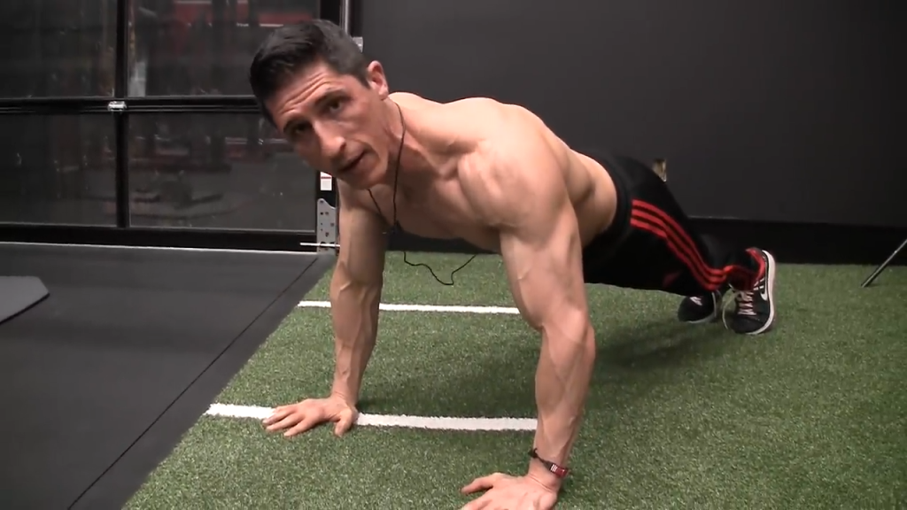 here I am shortening the range of motion on the pushup by not going high enough