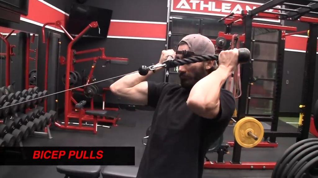 This is a bicep pull, not a face pull
