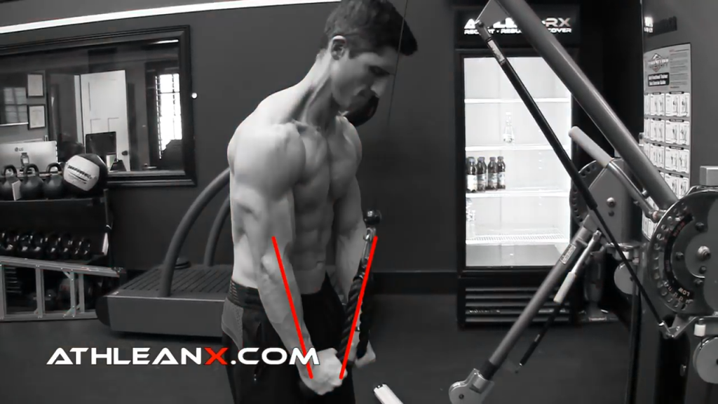 in the triceps pushdown when the cable is parallel to the forearm, the tension is gone