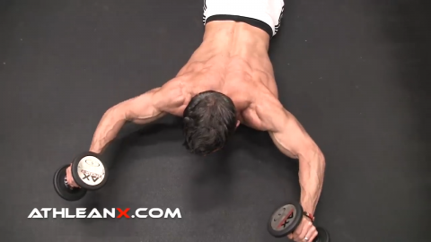 dumbbell prone floor press corrective exercise for shoulders