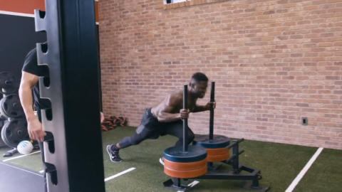 sled push away for chest