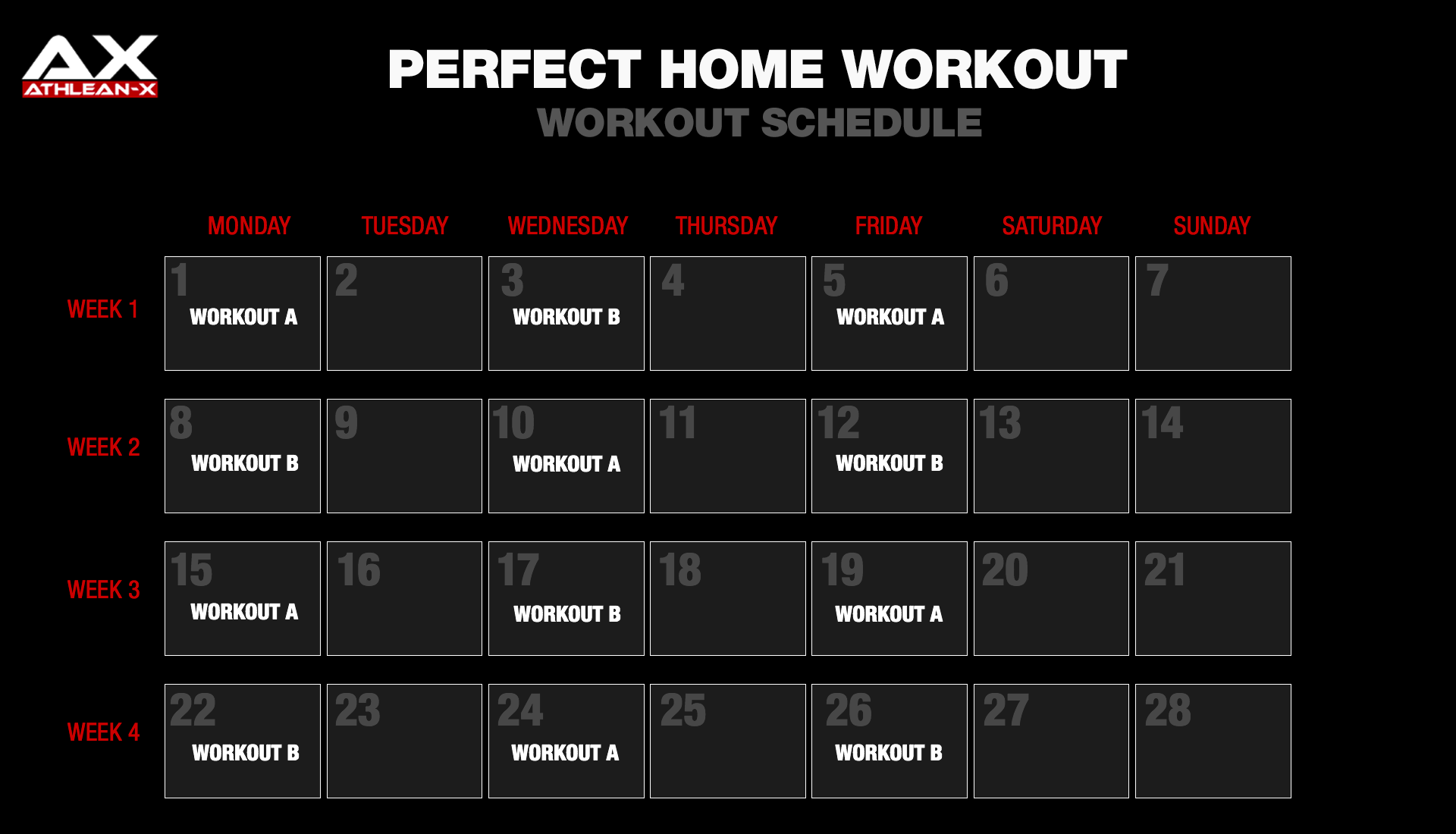 Perfect Home Workout one month calendar