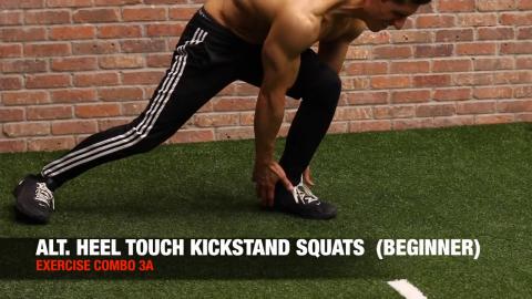 alternating single leg kickstand heel touch squat