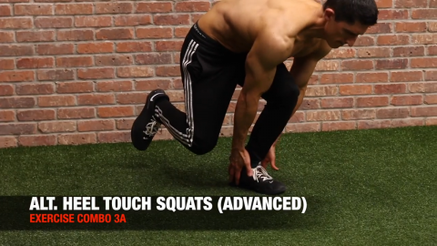 alternating heel touch single leg squat