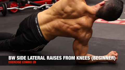 alternating bodyweight side lateral raise from knees