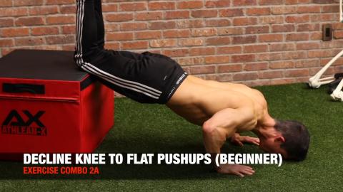 decline knee to flat pushups