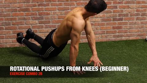 knee rotational pushup