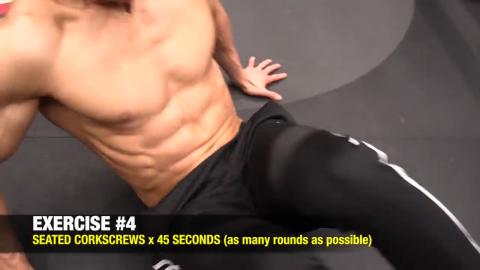 seated corkscrew abs exercise