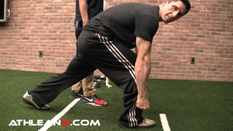 stepping forward in sprinter lunge to load the glutes