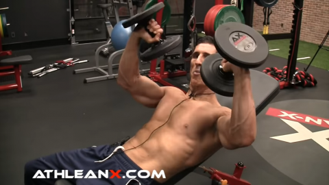 target triceps in dumbbell bench press