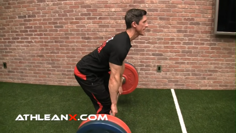 barbell tight against shins