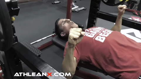 elbows should be at a 75 degree angle away from body in bench press