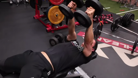 thumbs up dumbbell bench press