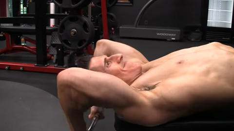lying triceps extension with ez curl bar